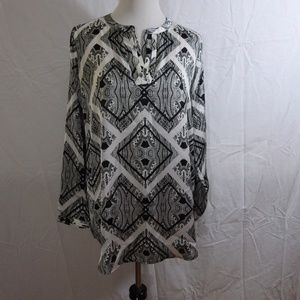 New York & Company Blouse Black White Size Medium